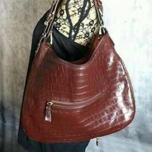 Adrienne Vittadini Expandable Brown Embossed Hobo